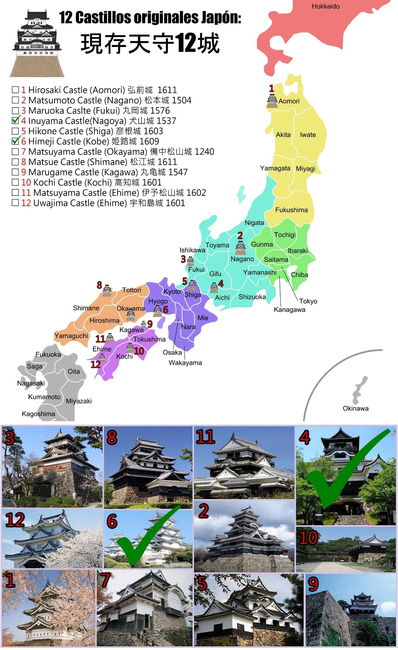 MAPA 12 castillos originales Razi pek